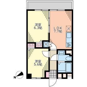 大島住宅 1010号室の間取り