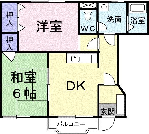 クレディヒルA・01030号室の間取り