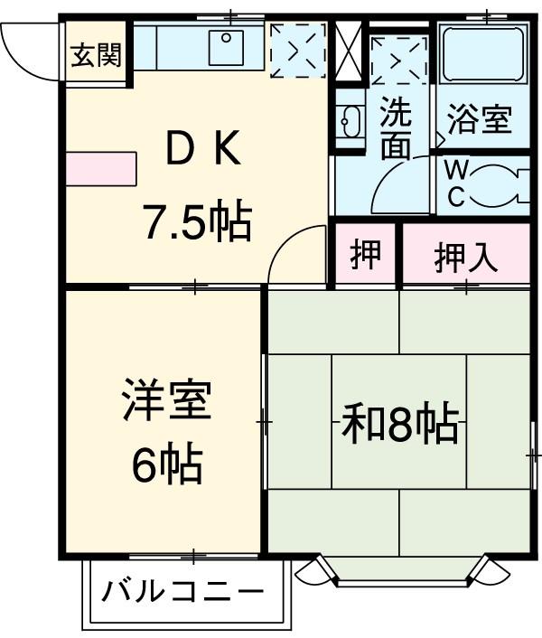 カーサK Ⅲ 203号室の間取り