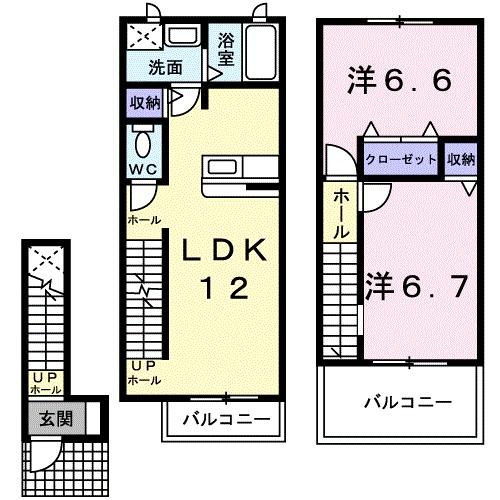 シャルマンタツミA 02030号室の間取り