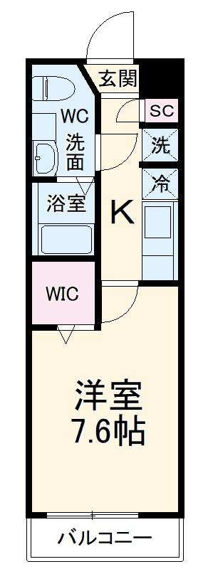 シャトーライフ平塚Ⅱ・402号室の間取り