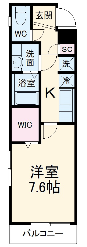シャトーライフ平塚Ⅱ・501号室の間取り