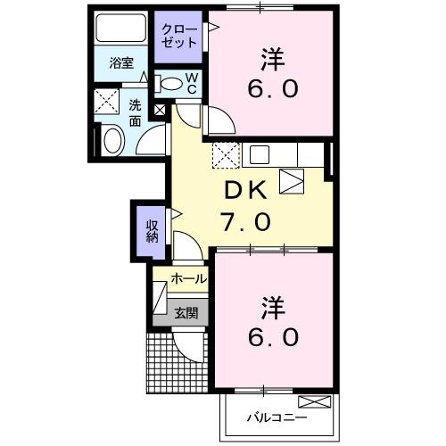 メゾン・ド・レネット Ⅱ・01020号室の間取り