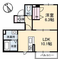 仮)三条町新築・101号室の間取り