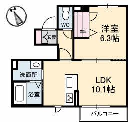 仮)三条町新築・102号室の間取り