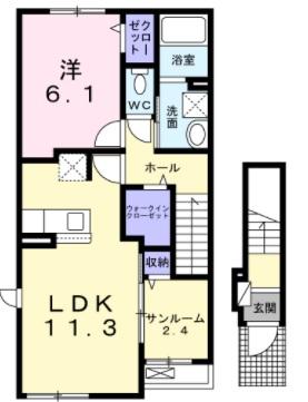 ソレイユ藤枝・02010号室の間取り