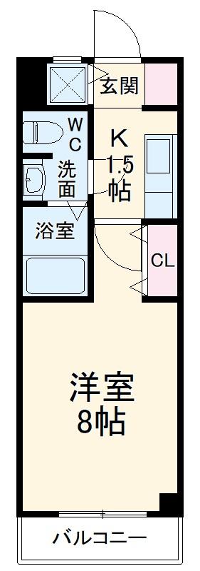 マンション赤坂・203号室の間取り
