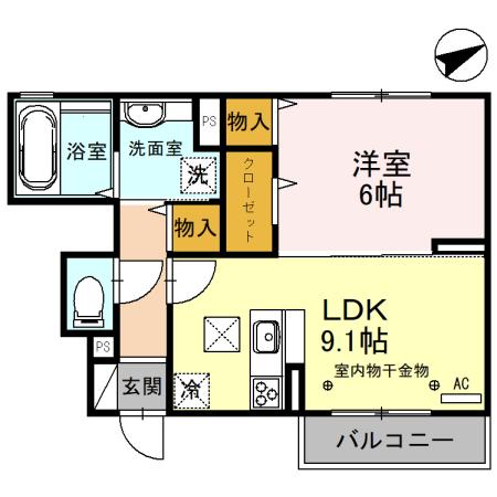 (仮)D-room備後西A・102号室の間取り