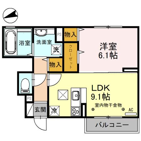 (仮)D-room備後西B・101号室の間取り