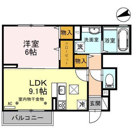 (仮)D-room備後西B・102号室の間取り