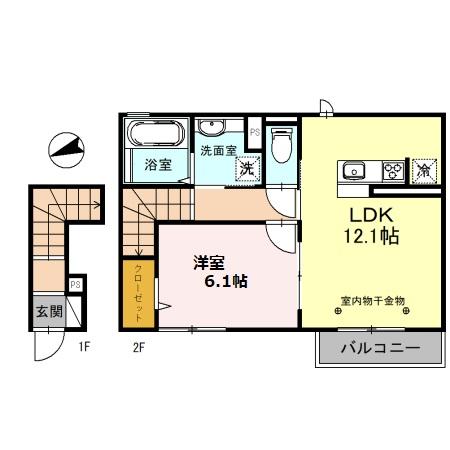 (仮)D-room備後西B・202号室の間取り
