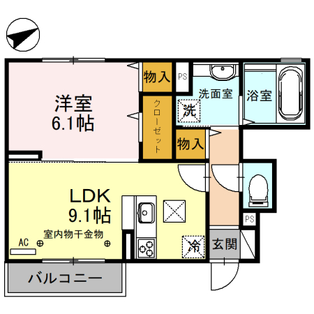 (仮)D-room備後西 A・101号室の間取り