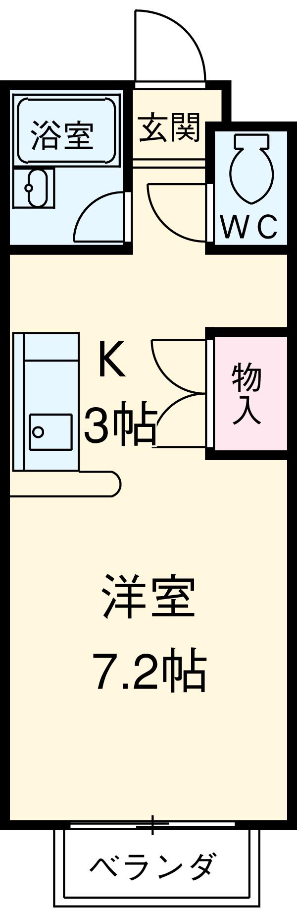 ハピネスツカモト北館・208号室の間取り