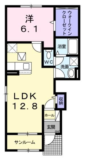 トウカキスクワール Ⅱ・01010号室の間取り