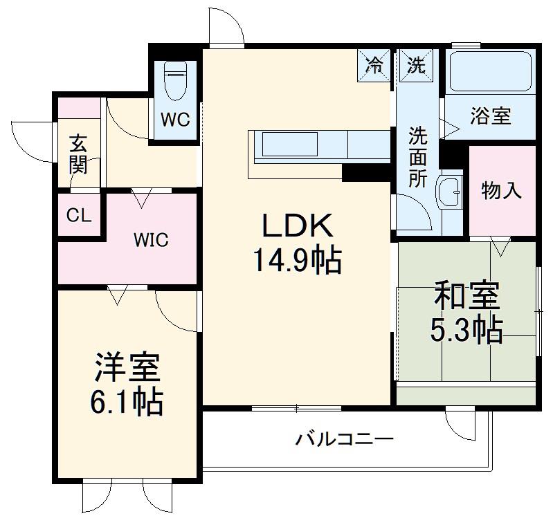 ラ メゾン ボヌール桜塚A棟 203号室の間取り