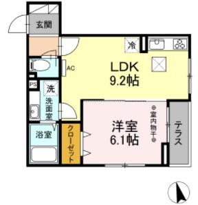 D-room西平山B棟・102号室の間取り