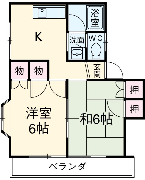サンハイツ山田 A棟・102号室の間取り