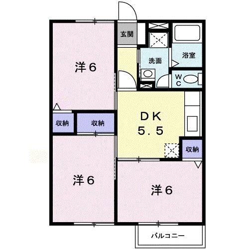 エクレール平沢Ⅲ・02040号室の間取り