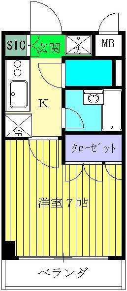 スペーシア川崎Ⅲ・206号室の間取り