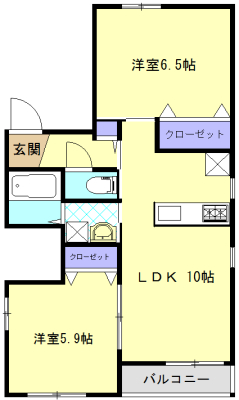 クリークフラワーガーデン片瀬江ノ島 301号室の間取り