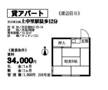 渡辺荘B・208号室の間取り