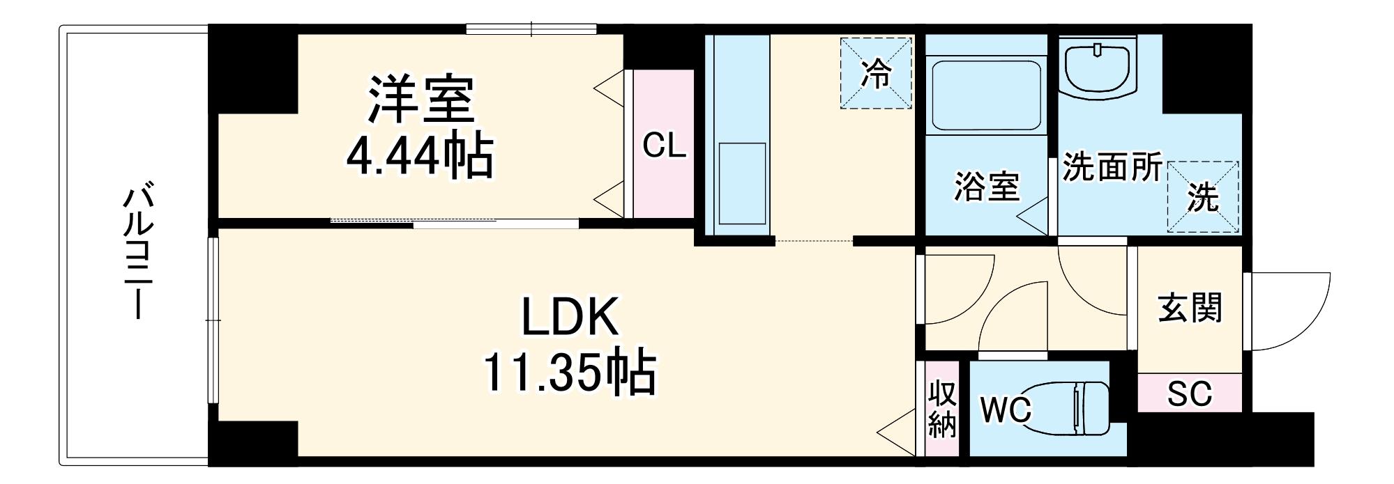 GRANDUKE大曽根fresa 201号室の間取り