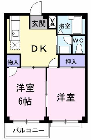 エルディム岡田・02040号室の間取り