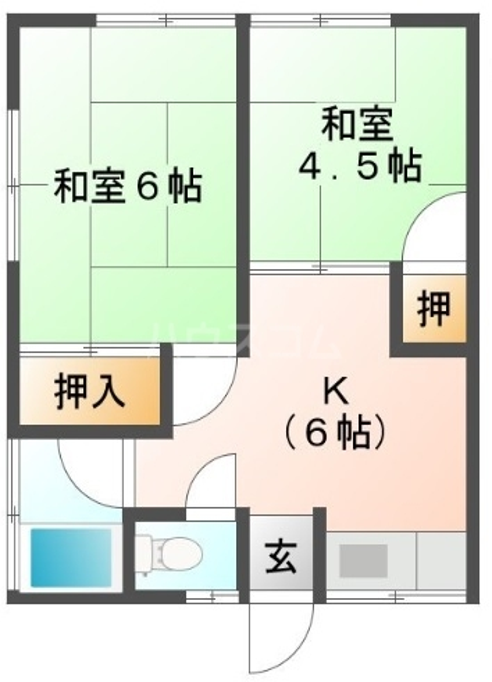 秋本ハイツ B・202号室の間取り