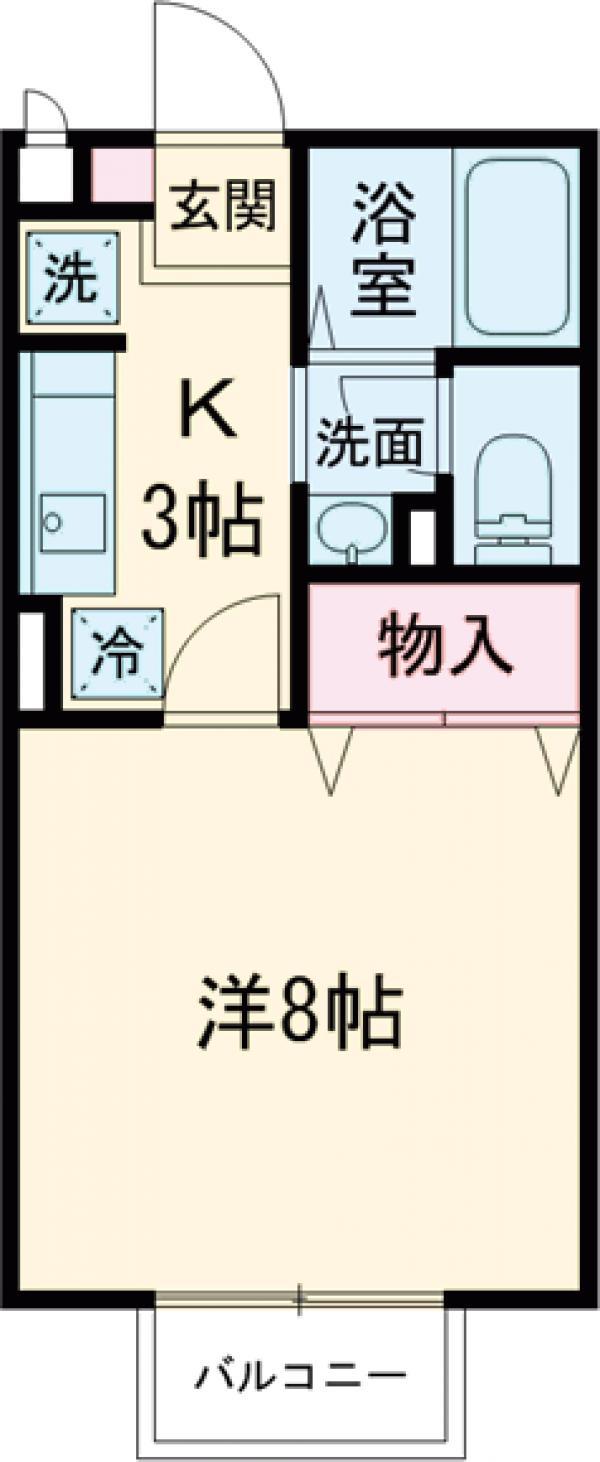 ラックスハイム鶴川台 Ⅰ・202号室の間取り