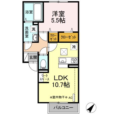 (仮)D-room長谷 102号室の間取り