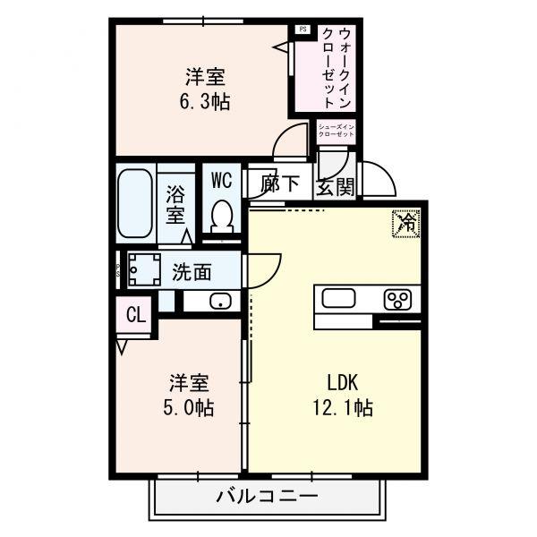 Rassurer lieu ASAHI・102号室の間取り
