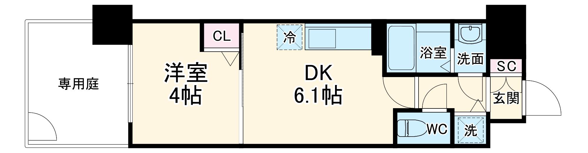 アスヴェル京都太秦 111号室の間取り