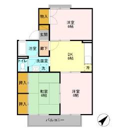 セジュール五井・B203号室の間取り