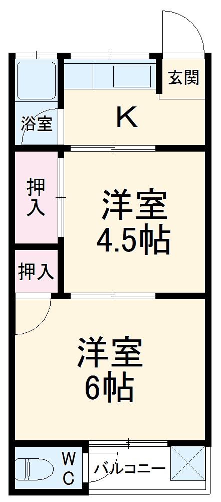 プチハイムキムラ 1-B号室の間取り