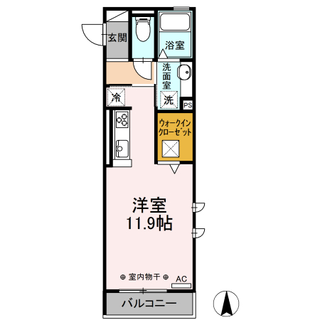 ?-room South North ?-room South A 101号室の間取り