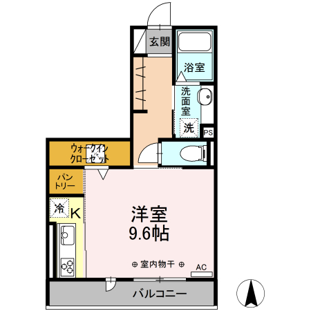 ?-room South North ?-room South A・102号室の間取り