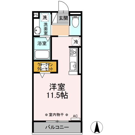D-room South・North D-room South A・107号室の間取り