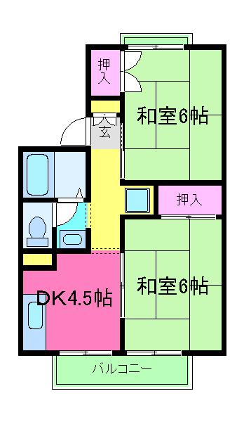 ドゥセジュール木村 202号室の間取り