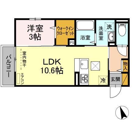 (仮称)D-room荒川沖東 B 102号室の間取り