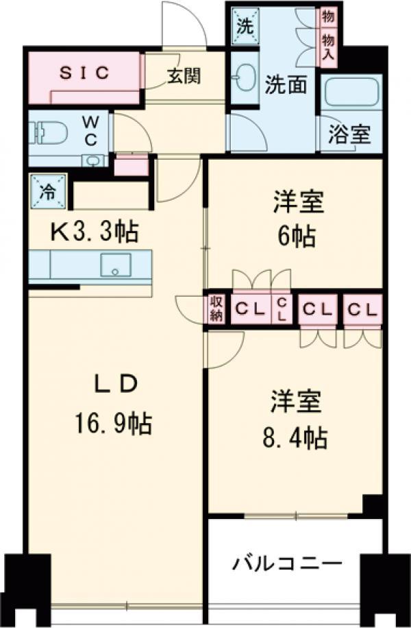 ラ・トゥール新宿ガーデン 2814号室の間取り