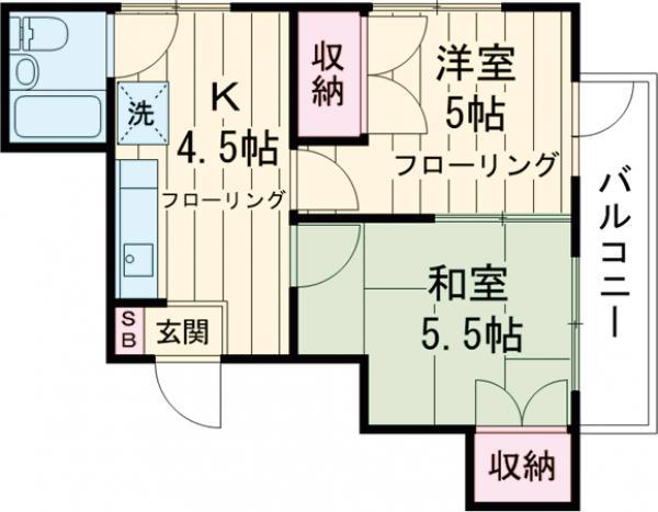 第三金子マンション・401号室の間取り