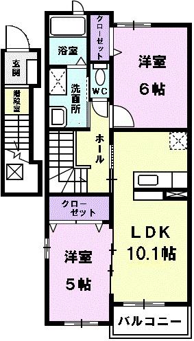 クレア・K・02030号室の間取り