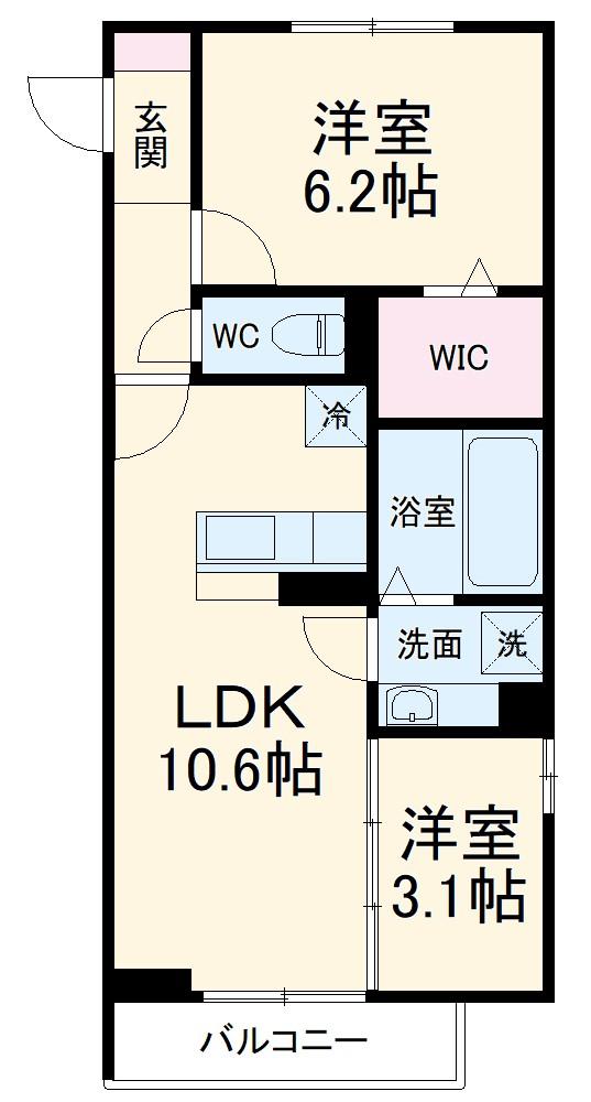 (仮称)D-Room有玉南町 C棟 201号室の間取り