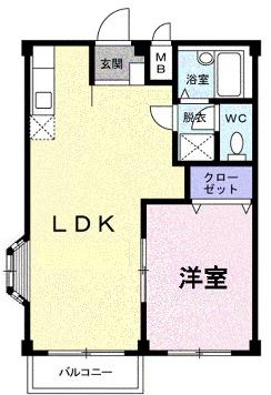 エルディム小川B 01060号室の間取り