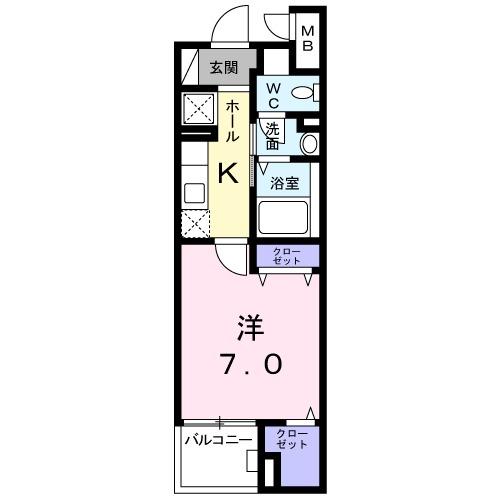 グランツ堀田・02040号室の間取り