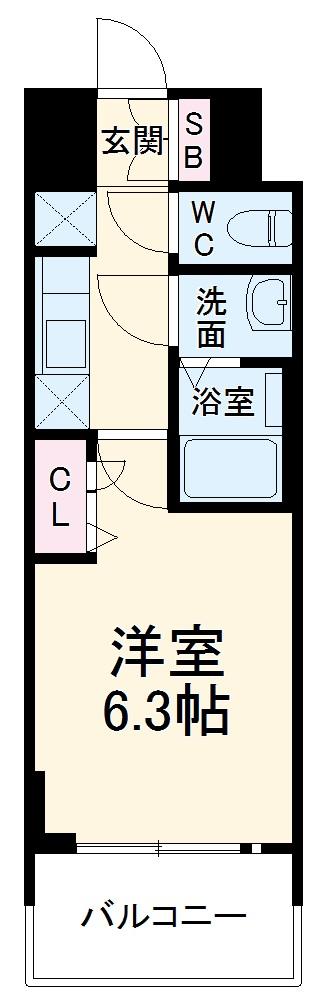 プレサンス名古屋幅下ファビュラス 1104号室の間取り