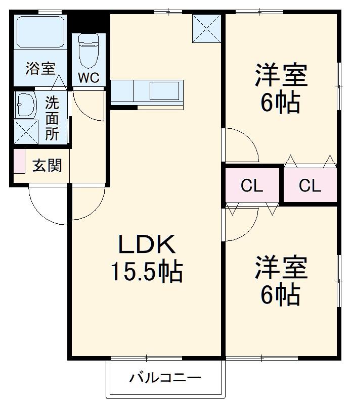 クレスト井ノ口・202号室の間取り