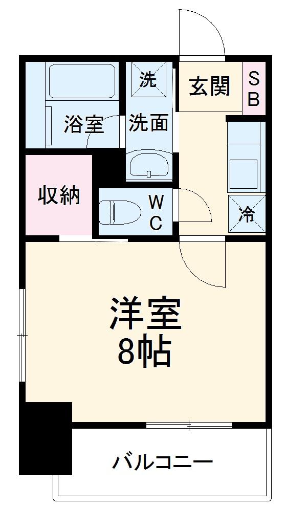 ヴィークブライト名古屋新栄 905号室の間取り