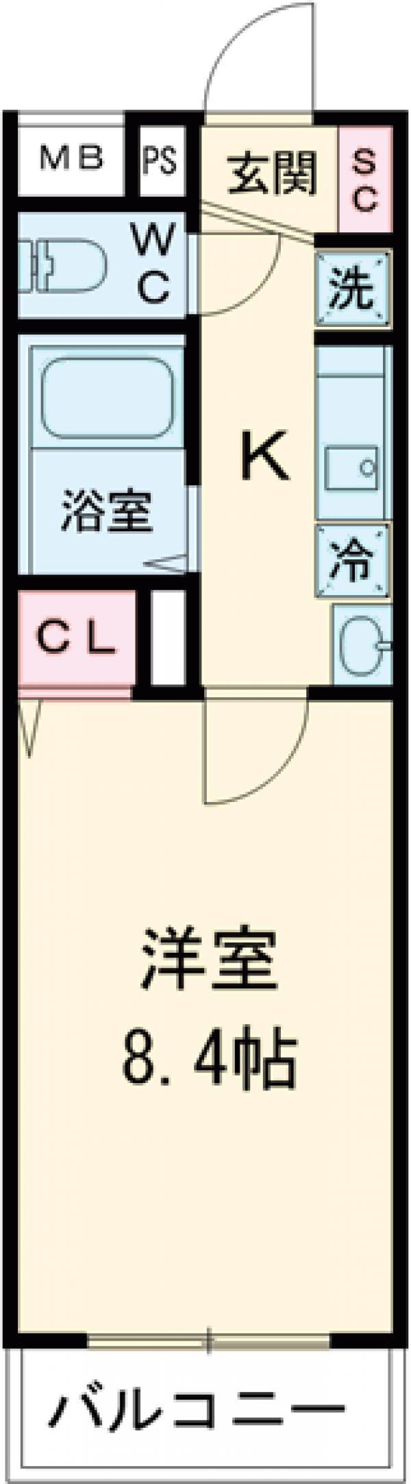グローリオシェルト仙川Ⅱ・102号室の間取り