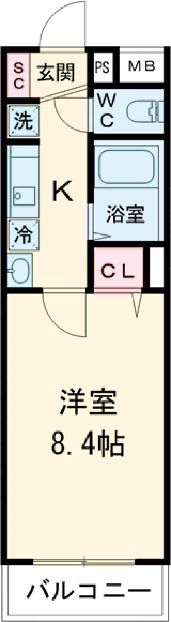 グローリオシェルト仙川Ⅱ・101号室の間取り